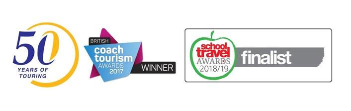 50th anniversary, Coach Tourism Award Winner and School Travel Organiser Finalist award logo