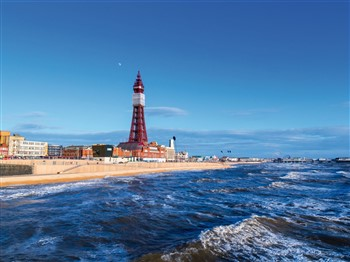 Blackpool beachscape including Blackpool Tower