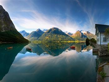 Fjord in Olden in Norway