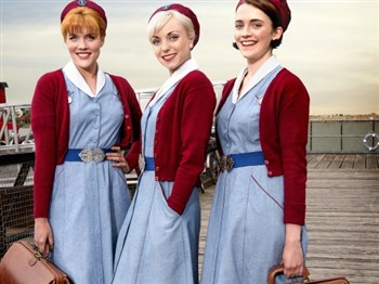 Three female midwife characters from the television program Call the Midwife