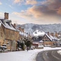 Village in the snow.