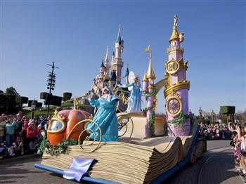Sleeping Beauty rides on the Disney parade at Disneyland Paris