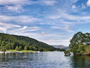 Boats in Lake Windermere in Cumbria