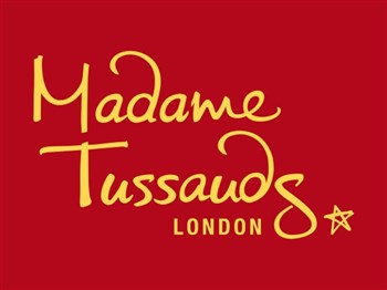Madame Tussauds logo with red backgrounnd