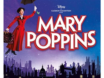 Mary Poppins logo showing Mary Poppins with her umbrella floating