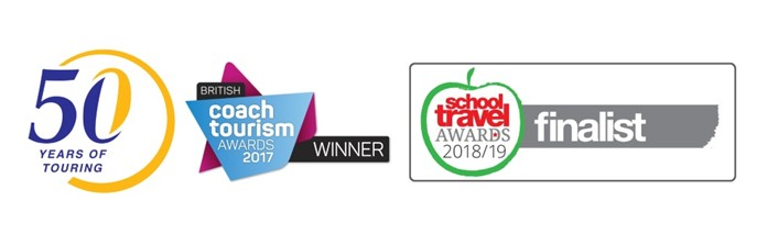 50th anniversary, Coach Tourism Award Winner and School Travel Organiser Finalist award logo