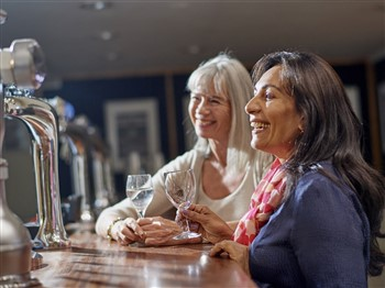 Two ladies smiling at bar