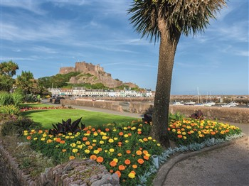 Flowers in front of Elizabeth Castle Jersey