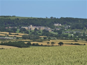 Ampleforth Abbey surrounded by fields