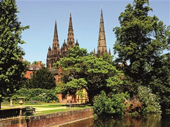 Lichfield Cathedral behind trees
