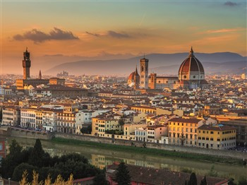Florence rooftops at sunset