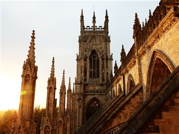 Close-up view of York Minster rooftop