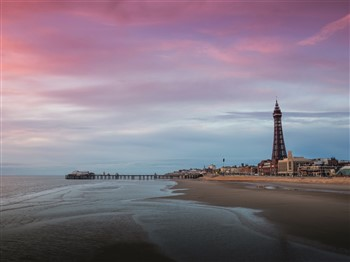 Blackpool beach at dusk