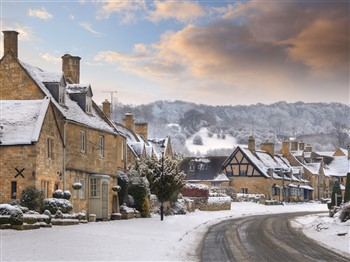 Snowy Broadway in the Cotswolds