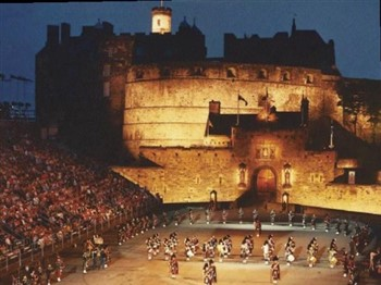Edinburgh Military Tattoo with Edinburgh Castle as backdrop