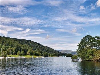 Boats in Lake Windermere in Cumbria