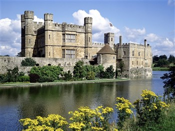 Leeds Castle with moat in foreground