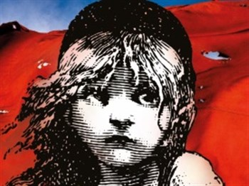 The logo of Les Miserables showing a young girl
