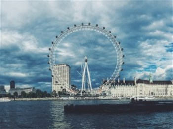 A view of the London Eye from the Thames