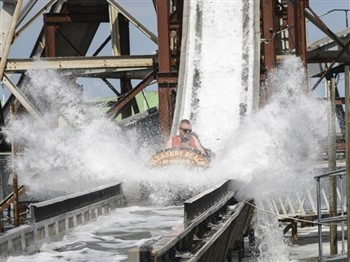 People going down log flume at Great Yarmouth Pleasure Beach