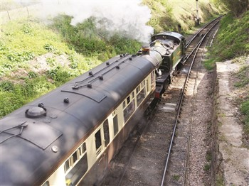 Steam train on Severn Valley Railway from above