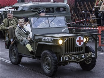 1940's military vehicle and passengers