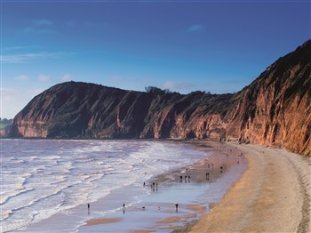 Deep red cliffs on Devon's coast