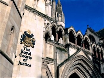 A front view of the Royal Courts of Justice in London