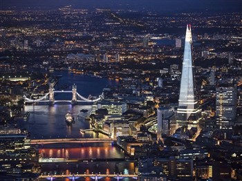 The Shard illuminated from the Thames