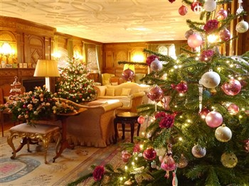 The Drawing Room at Hever Castle looking festive with Christmas trees