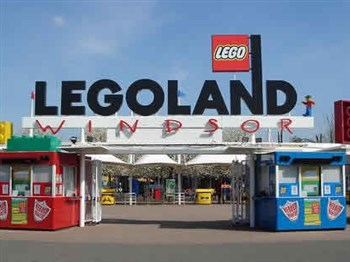 The entrance to Legoland showing the welcome sign